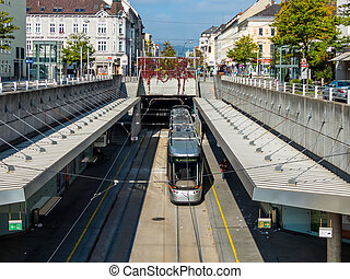 linz, austria - the tram in linz, upper austria-runs partly...