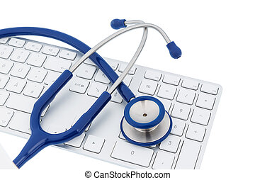 stethoscope and keyboard of a computer, symbol photo for...