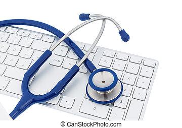 estetoscopio, teclado, computadora