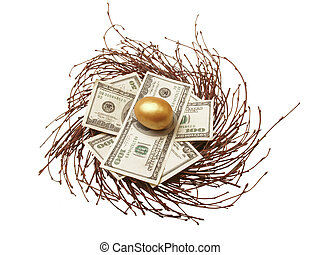 Gold Egg & Cash in nest - $100 & $50 bills with gold egg in...