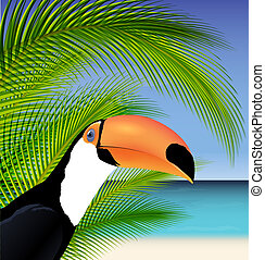 Vector Exotic trip card  with palm tree and Toucan