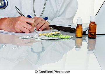 doctor prescribes a drug - a young doctor prescribes...