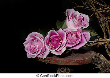 Four Long-stem Roses - Pink long stem roses resting on an...