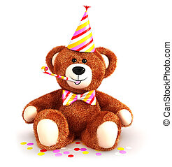 3d teddy bear party, isolated white background, 3d image