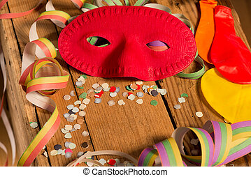 Carnival Mask - Still life with carnival mask and colored...