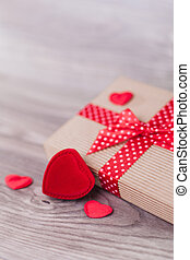 Valentine's day decorations on wood