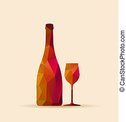 polygonal glass and bottle