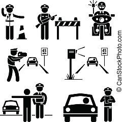polícia, oficial, tráfego, dever