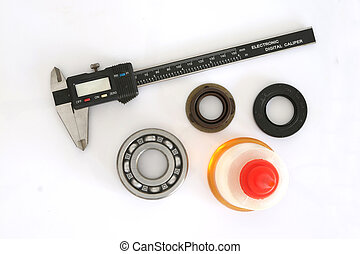 Vernier, bearing, Oil Seal and Oil on white background