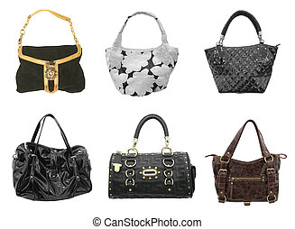 handbags - woman accessories collection of handbags isolated...