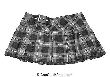 short skirt - dress. rumpled checkered short skirt isolated...