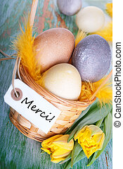Easter Nest with Merci - Easter Nest with the French Word...