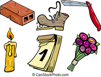 objects cartoon clip arts illustration set