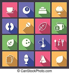 set of food and entertainment icons