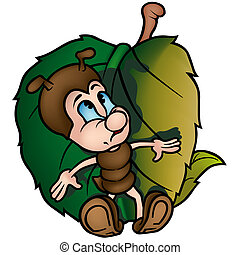 Ant With Leaf - Colored Cartoon Illustration, Vector