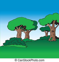Tree Alley - Cartoon Background Illustration, Colored Vector
