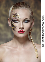 female visage with creative make-up - beauty portrait of...