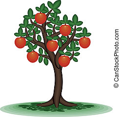 Fruit tree - Decorative tree with orange fruit Vector...