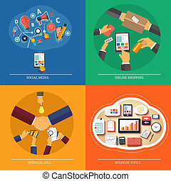 Icons for web design, seo, social media, online shopping,...