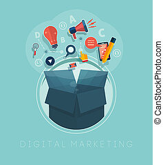 Digital marketing concept - Box with cloud of colorful...