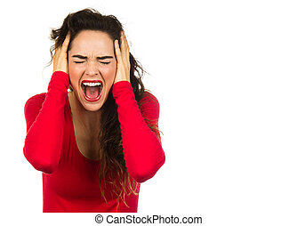 Frustrated woman screaming - A very angry and frustrated...