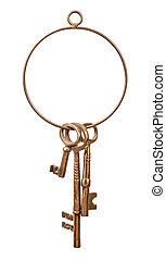Brass Key Ring and Keys - Brass Key Ring with assorted brass...