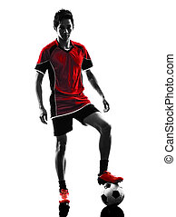 asian soccer player young man silhouette - one asian soccer...
