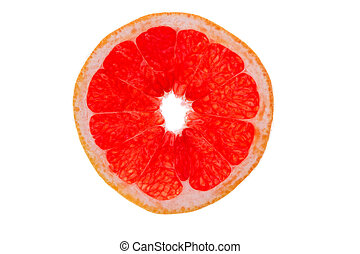 Slice of ruby grapefruit on white - Colourful slice of ruby...