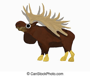 Big horns moose - A moose with big horns