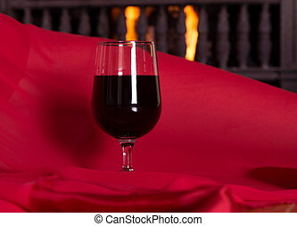 wine and fireplace
