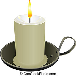 Candle in the old candlestick cheap Vector illustration