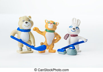Mascots of the Winter Olympic Games 2014: Bunny, Bear and...