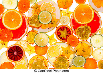 Healthy tropical fruit and citrus background - Healthy...