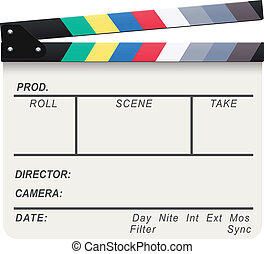 White Clapperboard - Vector illustration of a blank white...