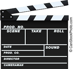 Black Clapperboard - Vector illustration of a blank and...