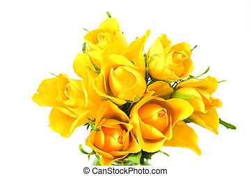 bunch of flowers - yellow roses isolated on the white...
