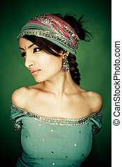 indian girl - beauty portrait of indian girl with...