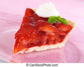 Strawberry Pie Slice - Deliciously sweet strawberry pie with...