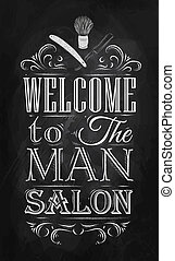 Poster Barbershop welcome chalk - Poster Barbershop welcome...