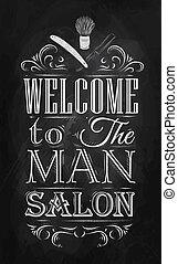 ポスター, 理髪店, 歓迎, チョーク
