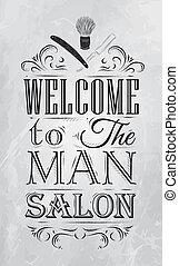 cartel, barbería, bienvenida, carbón