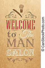 Poster Barbershop welcome kraft - Poster Barbershop welcome...
