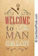 ポスター, 理髪店, 歓迎, クラフト
