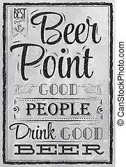 Poster Point Beer coal - Poster with the words in coal Point...