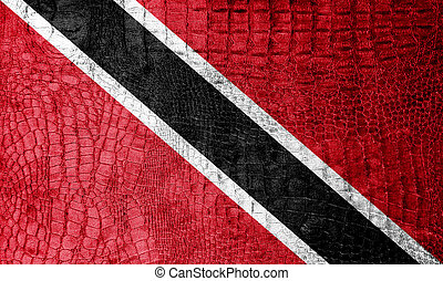 Trinidad and Tobago Flag painted on luxury crocodile texture