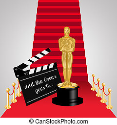 Red carpet with Oscar statue