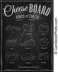 Poster set of cheese chalk - Poster set of cheese with...