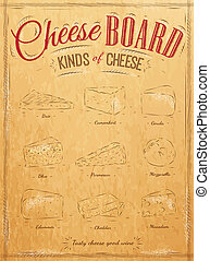 Poster set of cheese kraft - Poster set of cheese with...