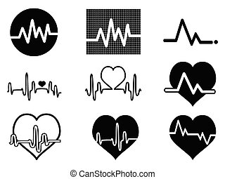 heartbeat icons - isolated balck heartbeat icons on white...