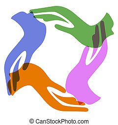 color hands around - isolated 4 different color hands around...